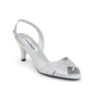 Dyeables Womens Nicky Silver Satin Peep/Open Toe Wedding Shoes
