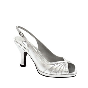 Dyeables Womens Hannah Silver Metalllic Peep/Open Toe Prom and Evening Shoes