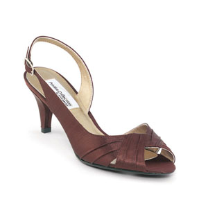 Dyeables Womens Nicky Chocolate Satin Peep/Open Toe Wedding Shoes