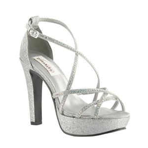 Dyeables Womens Taylor Silver Glitter Synthetic Platforms Prom and Evening Shoes