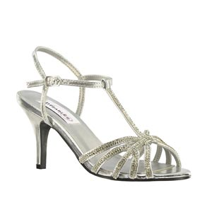Dyeables Womens Lexi Silver Metallic Metalllic Sandals Prom and Evening Shoes