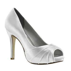 Dyeables Womens Bea White Satin Pumps Wedding Shoes