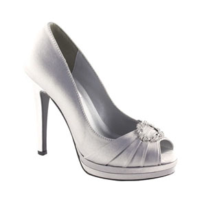 Dyeables Womens Gianna Silver Satin Platforms Wedding Shoes