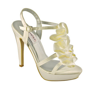 Dyeables Womens Ivy Ivory Satin Sandals Prom and Evening Shoes