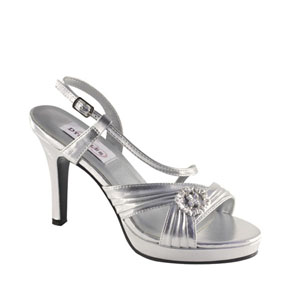 Dyeables Womens Jocelyn Silver Metalllic Platforms Prom and Evening Shoes