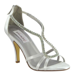 Dyeables Womens Josie White Satin Sandals Wedding Shoes