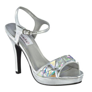Dyeables Womens Kelly Silver Metalllic Sandals Prom and Evening Shoes