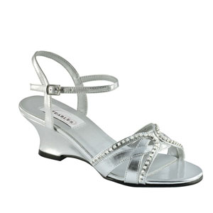 Dyeables Womens Peg Silver Metalllic Sandals Prom and Evening Shoes