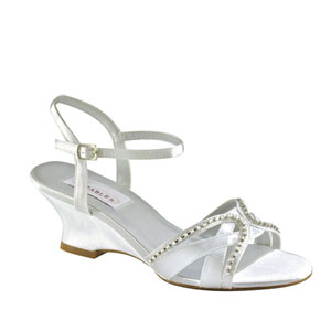 Dyeables Womens Peg White Metalllic Sandals Prom and Evening Shoes