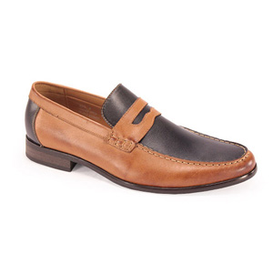 Giovanni Mens 6373 Navy/Tan Leather Slip On Dress Shoes