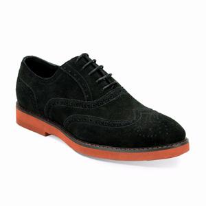 Giovanni Mens 6597 Black Suede Wingtip Dress Shoes