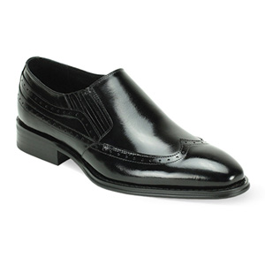 Giovanni Mens ARMO Black Leather Slip On Dress Shoes