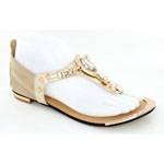 Helens Heart Womens CFW-1357 Gold Synthetic Sandals Casual Shoes