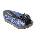 Helens Heart Womens CFW-8127-19 BlueLeopard Beaded Sandals Casual Shoes