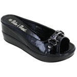 Helens Heart Womens CFW-8127-40 Black Vinyl Wedge Casual Shoes