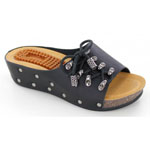 Helens Heart Womens CFW-B01 Black Fabric Sandals Casual Shoes