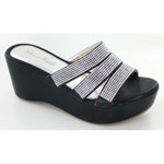 Helens Heart Womens CFW-C04 Black Beaded Sandals Casual Shoes