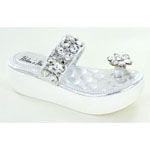 Helens Heart Womens CFW-E02 Siilver Beaded Sandals Casual Shoes
