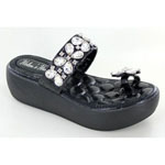 Helens Heart Womens CFW-E02 Black Beaded Sandals Casual Shoes