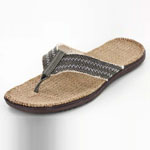 Helens Heart Womens CFW-F02 Brown Fabric Flip Flops Casual Shoes