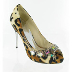 Helens Heart Womens FS-279-1 LeopardPrint Leather Peep/Open Toe Prom and Evening Shoes