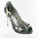 Helens Heart Womens FS-279-1 GrayLeopard Beaded Pumps Prom and Evening Shoes