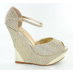 Helens Heart Womens FS-5223-36 Gold Beaded Wedge Casual Shoes