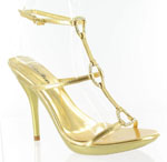 Helens Heart Womens Gala Gold Crepe w/Satin Sandals Prom and Evening Shoes