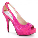 Helens Heart Womens FS-8380-A22 Fucshia Sequin Peep/Open Toe Prom and Evening Shoes