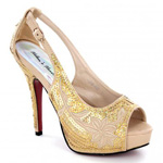 Helens Heart Womens FS-8380-A22 Gold Sequin Platforms Prom and Evening Shoes
