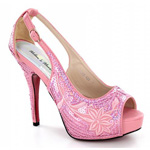 Helens Heart Womens FS-8380-A22 Pink Sequin Sandals Prom and Evening Shoes