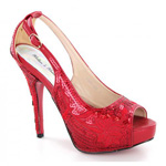 Helens Heart Womens FS-8380-A22 Red Sequin Pumps Prom and Evening Shoes