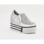 Helens Heart Womens FS-913-23 Silver Beaded Sneakers Casual Shoes