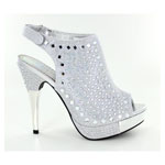 Helens Heart Womens FS-Y369 Silver Beaded Pumps Prom and Evening Shoes