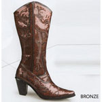 Helens Heart Womens LB-0290-12 Bronze Sequin Boots Casual Shoes