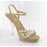 Helens Heart Womens PS-828-6 Tan-Stones Leather Sandals Prom and Evening Shoes