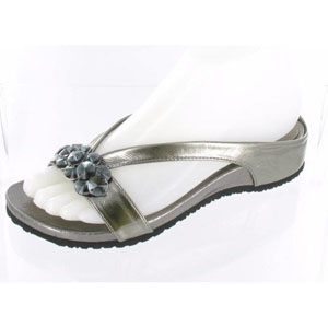 Helens Heart Womens CFW-318 Grey Beaded Sandals Casual Shoes