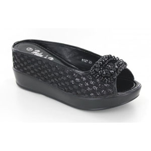 Helens Heart Womens CFW-8127-27 Black Beaded Sandals Casual Shoes