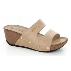 Helens Heart Womens CFW-T9108 Taupe Sequin Wedge Casual Shoes