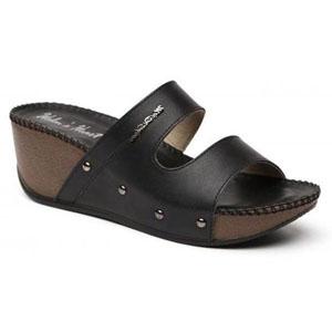 Helens Heart Womens CFW-T9108 Black PU Wedge Casual Shoes