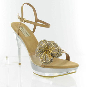 Helens Heart Womens FLS-BS-02 Nude Synthetic Sandals Prom and Evening Shoes