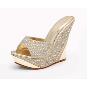 Helens Heart Womens FS-5223-35 Gold Beaded Wedge Prom and Evening Shoes