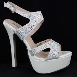 Helens Heart Womens FS-804-836 White Beaded Platforms Prom and Evening Shoes