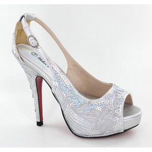 Helens Heart Womens FS-8380-A22 Silver Sequin Peep/Open Toe Prom and Evening Shoes