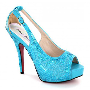 Helens Heart Womens FS-8380-A22 Turquoise Sequin Pumps Prom and Evening Shoes