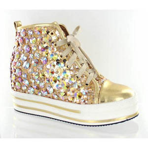 Helens Heart Womens FS-TN001 Gold Sequin Sneakers Casual Shoes 666c0d37f