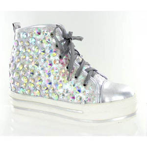 Helens Heart Womens FS-TN001 Silver Sequin Sneakers Casual Shoes
