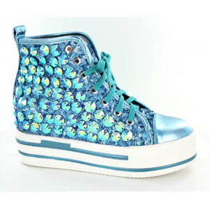 Helens Heart Womens FS-TN001 Turquoise Sequin Sneakers Casual Shoes a369f81f3