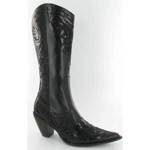Helens Heart Womens LB-0290-10 Black Sequin Boots Casual Shoes