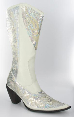 Helens Heart Womens LB-0290-10 White Sequin Boots Casual Shoes